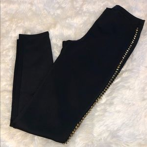 Black Leggings with Gold Spikes